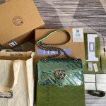 Gucci 443497 GG Marmont Matelassé shoulder Sequin Bag Green - luxibagsmall