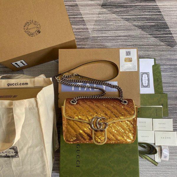 Gucci 443497 GG Marmont Matelassé shoulder Sequin Bag Gold - luxibagsmall
