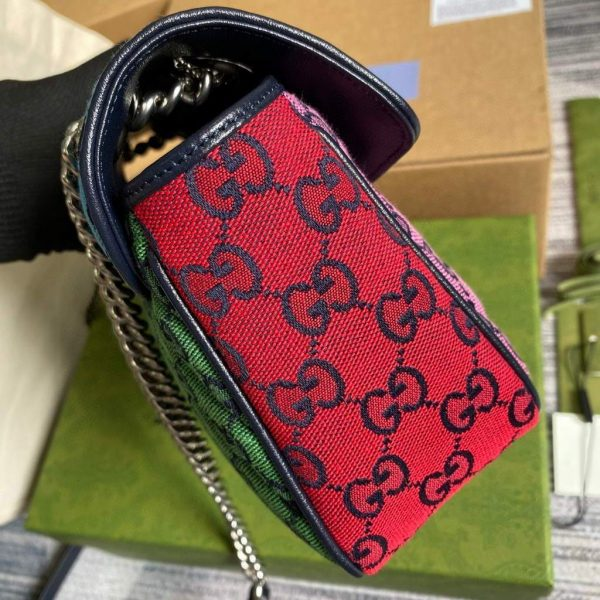Gucci 443497 GG Marmont Multicolor small shoulder bag Blue and Purple - luxibagsmall