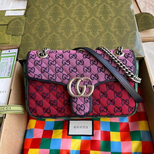 Gucci 443497 GG Marmont Multicolor small shoulder bag Red Purple - luxibagsmall