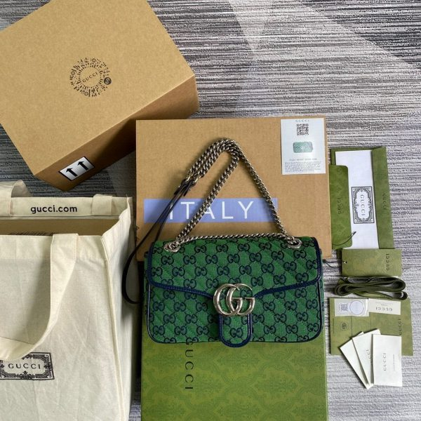 Gucci 443497 GG Marmont Multicolour Small Shoulder Bag Green - luxibagsmall