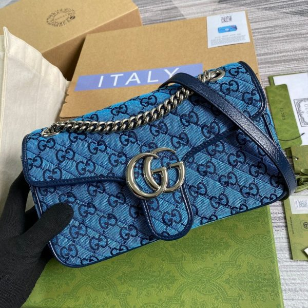 Gucci 443497 GG Marmont Multicolour Small Shoulder Bag Blue - luxibagsmall