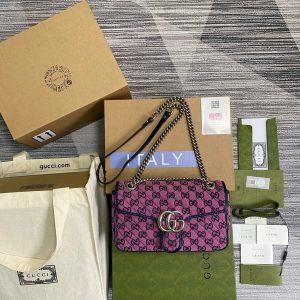 Gucci 443497 GG Marmont Multicolour Small Shoulder Bag Purple - luxibagsmall