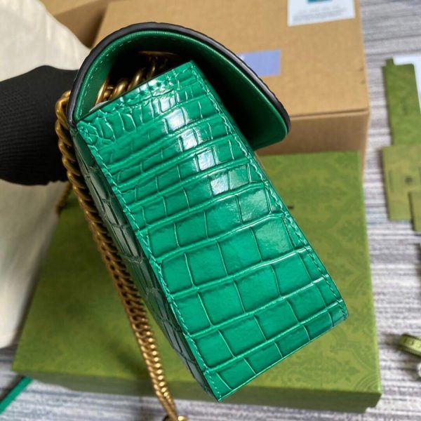 Gucci 443497 GG Marmont Small Crocodile Pattern Matelassé Shoulder Bag Green - luxibagsmall