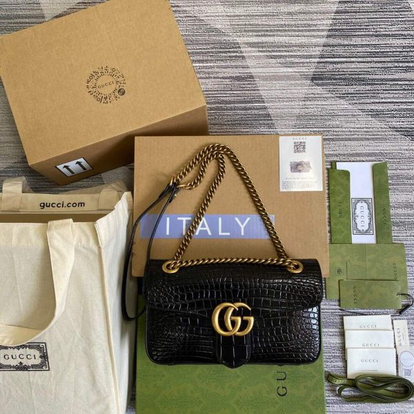 Gucci 443497 GG Marmont Small Crocodile Pattern Matelassé Shoulder Bag Black - luxibagsmall