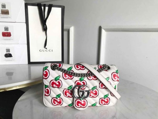 Gucci 443497 GG Marmont Small Shoulder Bag White and Red - luxibagsmall