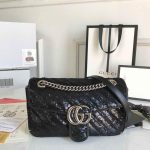 Gucci 443497 GG Marmont Small Shoulder Sequin Bag Black - luxibagsmall