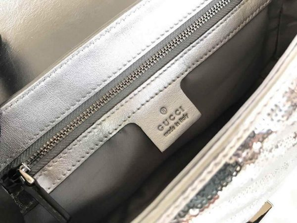 Gucci 443497 GG Marmont Small Shoulder Sequin Bag Silver - luxibagsmall