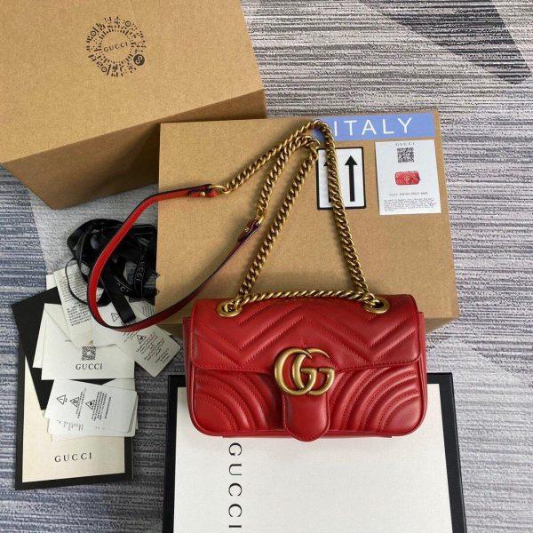 Gucci 446744 GG Marmont Matelassé Mini Bag Red - luxibagsmall