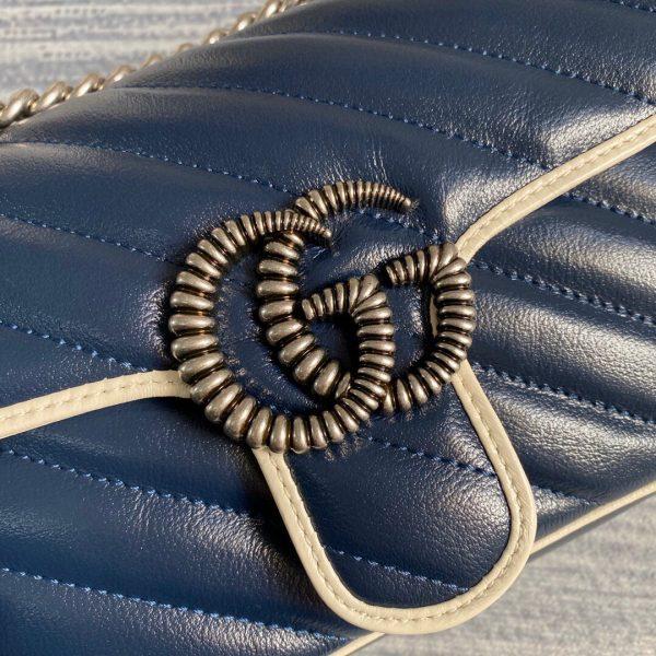 Gucci 446744 GG Marmont Matelassé Mini Bag Navy Blue - luxibagsmall
