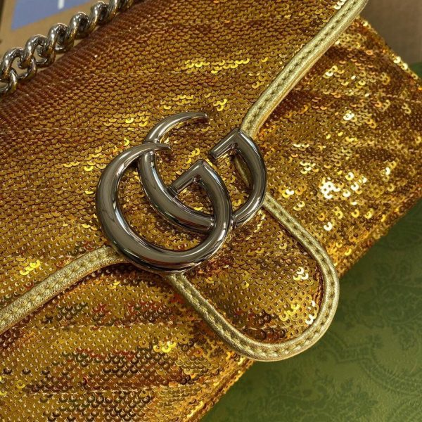 Gucci 446744 GG Marmont Mini Sequin Shoulder Bag Gold - luxibagsmall