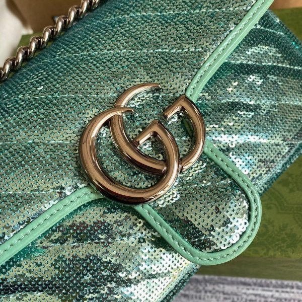 Gucci 446744 GG Marmont Mini Sequin Shoulder Bag Green - luxibagsmall