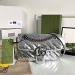 Gucci 446744 GG Marmont Mini Shoulder Sequin Bag Silver - luxibagsmall