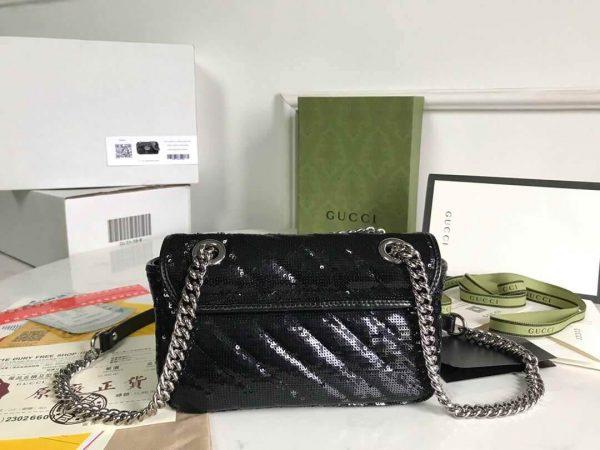 Gucci 446744 GG Marmont Mini Shoulder Sequin Bag Black - luxibagsmall