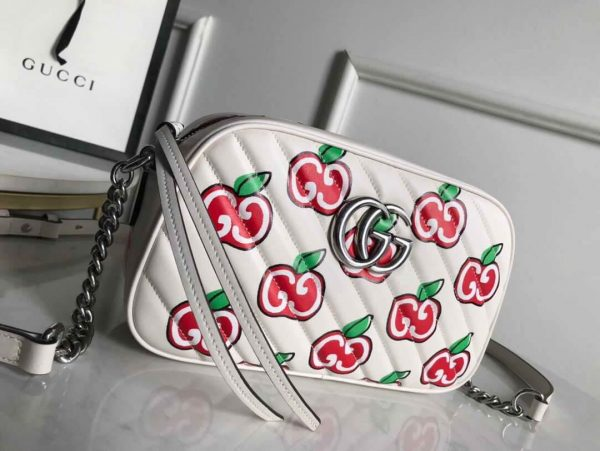 Gucci 447632 GG Marmont Mini Shoulder Bag White and Red - luxibagsmall