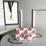 Gucci 447633 GG Marmont Super Mini Shoulder Bag White and Red - luxibagsmall