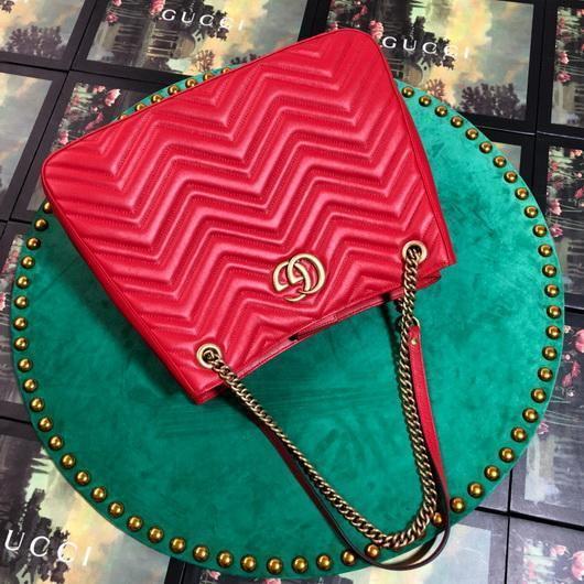 Gucci 453569 GG Marmont Matelassé Shoulder Bag Red - luxibagsmall