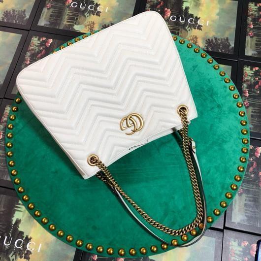 Gucci 453569 GG Marmont Matelassé Shoulder Bag White - luxibagsmall
