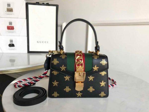 Gucci 470270 GG Sylvie Mini Shoulder Bag Black - luxibagsmall