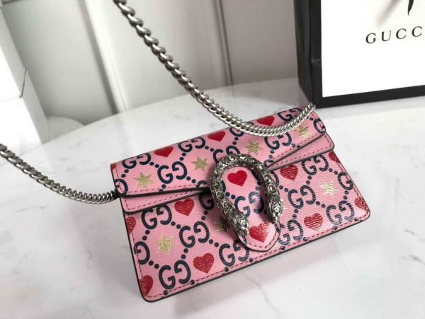 Gucci 476432 GG Dionysus Super Mini Leather Bag Pink - luxibagsmall