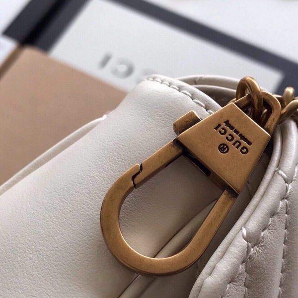 Gucci 476433 GG Marmont Matelassé Leather Super Mini Bag White - luxibagsmall