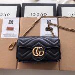 Gucci 476433 GG Marmont Matelassé Leather Super Mini Bag Black - luxibagsmall