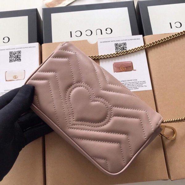 Gucci 476433 GG Marmont Matelassé Leather Super Mini Bag Light Pink - luxibagsmall