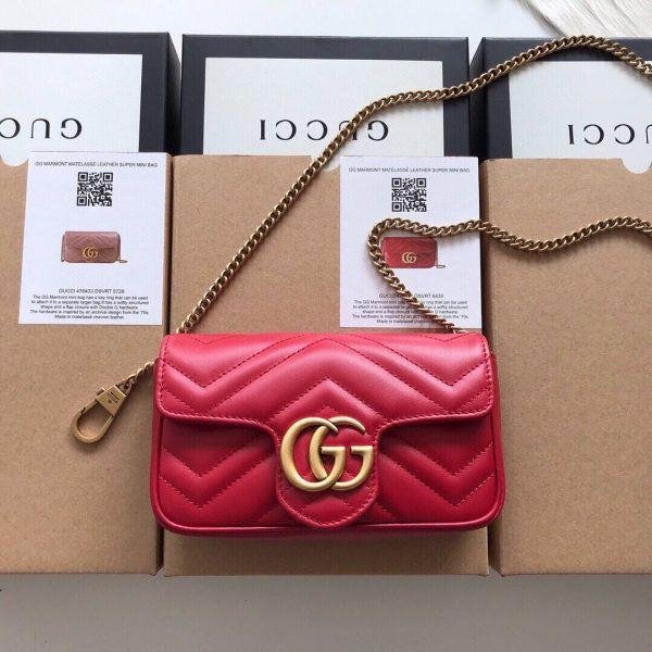 Gucci 476433 GG Marmont Matelassé Leather Super Mini Bag Red - luxibagsmall