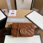 Gucci 476433 GG Marmont Matelassé Leather Super Mini Bag Brown - luxibagsmall