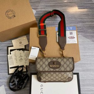 gucci 489617 neo vintage gg supreme belt bag brown 0