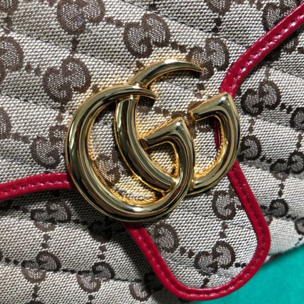Gucci 498110 GG Marmont Small Top Handle Bag Black Red - luxibagsmall
