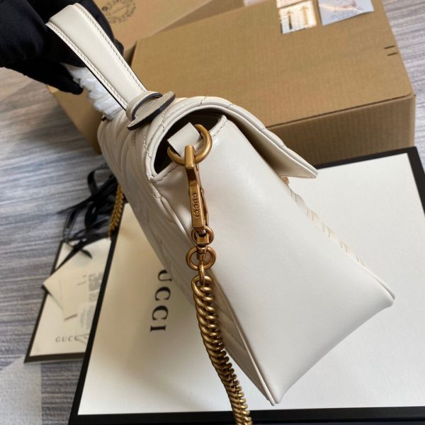 Gucci 498110 GG Marmont Small Top Handle Bag White - luxibagsmall