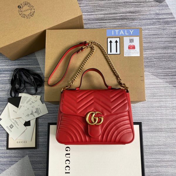 Gucci 498110 GG Marmont Small Top Handle Bag Red - luxibagsmall