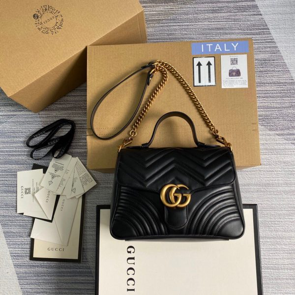 Gucci 498110 GG Marmont Small Top Handle Bag Black - luxibagsmall