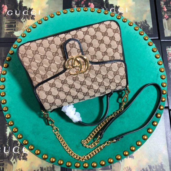 Gucci 498110 GG Marmont Small Top Handle Bag Black Brown - luxibagsmall