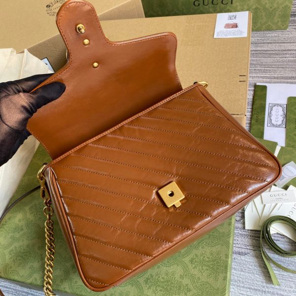 Gucci 498110 GG Marmont Small Top Handle Bag Brown - luxibagsmall