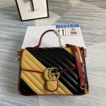 gucci 498110 gg marmont small top handle bag black and yellow 0