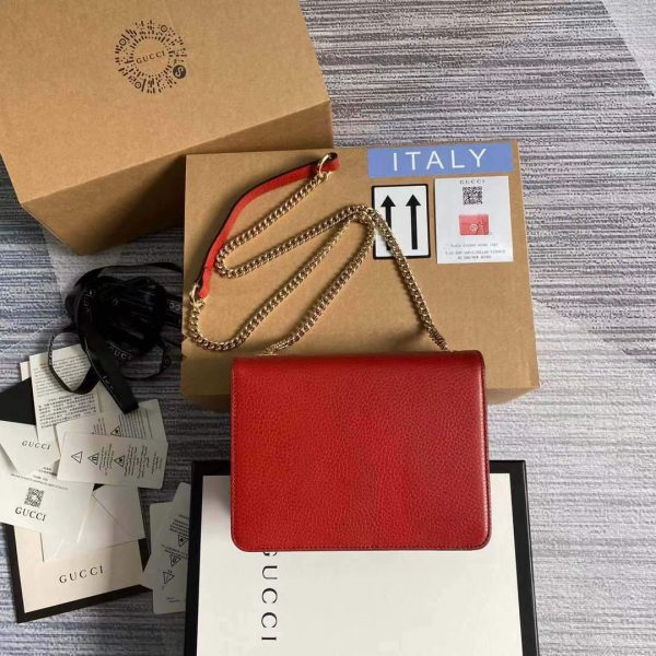 Gucci 510304 Interlocking Red Leather Chain Cross Body Bag - luxibagsmall