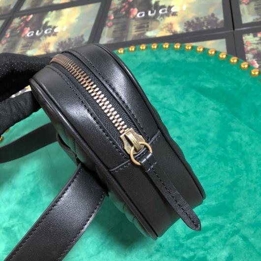 Gucci 523380 GG Marmont Matelassé Belt Bag 448065 Black - luxibagsmall