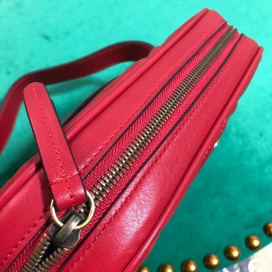 Gucci 523380 GG Marmont Matelassé Belt Bag 448065 Red - luxibagsmall