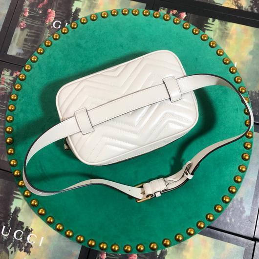 Gucci 523380 GG Marmont Matelassé Belt Bag 448065 White - luxibagsmall