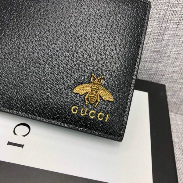 Gucci 523664 Animalier leather wallet fold men short section wallet credit card holder - luxibagsmall