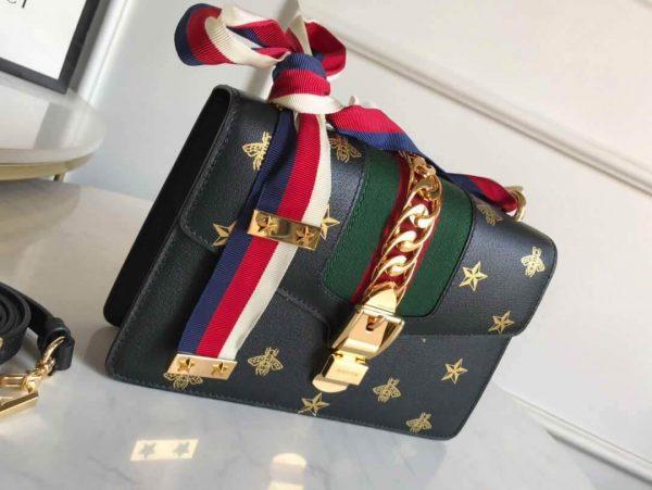 Gucci 524405 GG Sylvie Small Shoulder Bag Black - luxibagsmall