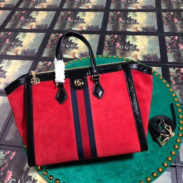 Gucci 524537 Gucci Ophidia GG Medium Tote Shoulder Bag Red - luxibagsmall