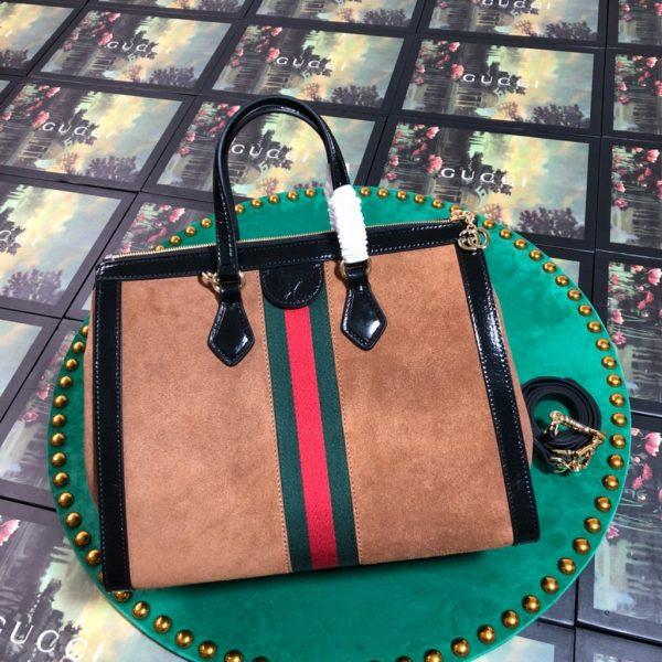 Gucci 524537 Gucci Ophidia GG Medium Tote Shoulder Bag Tan - luxibagsmall