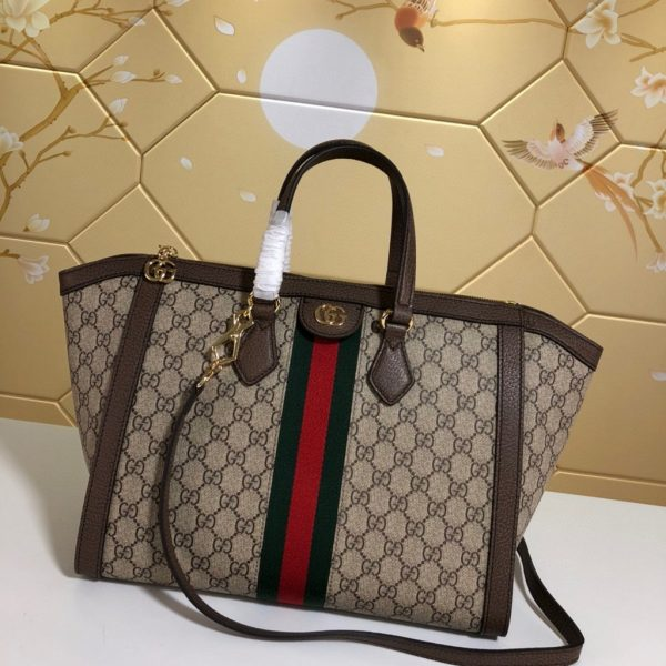 Gucci 524537 Ophidia GG Medium Tote Brown Bag - luxibagsmall