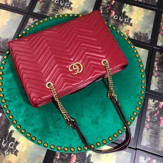 Gucci 524578 GG Marmont Matelassé Shoulder Bag Red - luxibagsmall