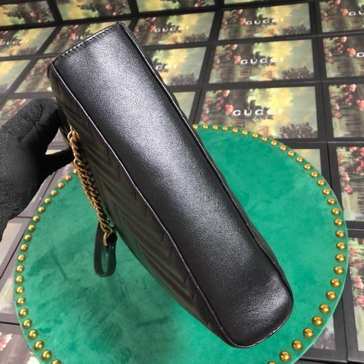 Gucci 524578 GG Marmont Matelassé Shoulder Bag Black - luxibagsmall