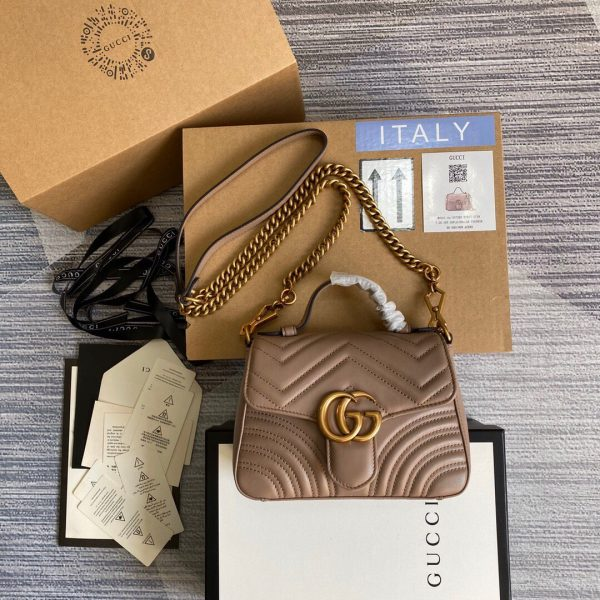 Gucci 547260 GG Marmont Mini Top Handle Bag Light Pink - luxibagsmall