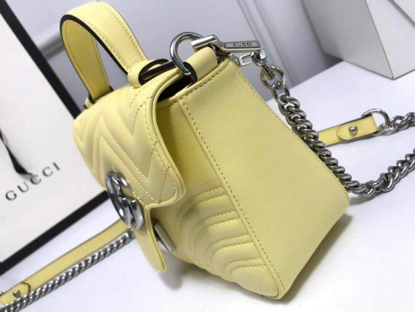 Gucci 547260 GG Marmont Mini Top Handle Bag Yellow - luxibagsmall